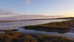 Aerial of Marina and Scenery in Beaufort South Carolina Stock Footage