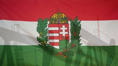 Hungary coat of arms flag slow motion oil production concept Stock Footage