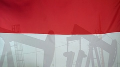 Indonesia flag slow motion oil production concept Stock Footage