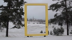 National Geographic sign in snowfall Stock Footage