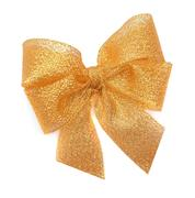 Golden bow on a white background. Stock Photos