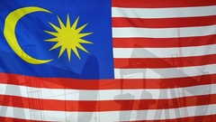 Malaysia flag slow motion oil production concept Stock Footage