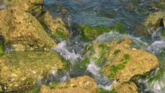 Water Crashes Over Rocky Coast, 4K Stock Footage