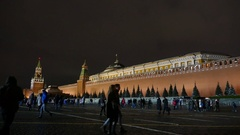 Kremlin wall and the mausoleum in Moscow evening  Stock Footage