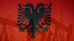 Albania flag slow motion oil production concept Stock Footage