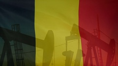 Belgium flag slow motion oil production concept Stock Footage