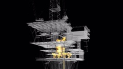 Oil and Gas central processing platform. PNG and Alpha channel Stock Footage