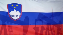 Slovenia flag slow motion oil production concept Stock Footage