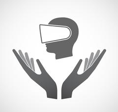 Isolated hands offering  a male head wearing a virtual reality headset Stock Illustration