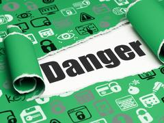 Privacy concept: black text Danger under the piece of  torn paper Stock Illustration