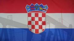 Croatia flag slow motion oil production concept Stock Footage