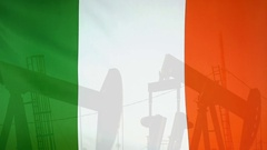 Republic of Ireland flag slow motion oil production concept Stock Footage