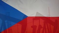 Czech Republic flag slow motion oil production concept Stock Footage
