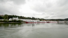 Cruise boats are ready to roll in Passau, Germany on the Danube River Stock Footage