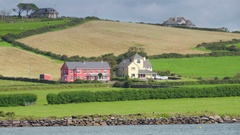 The houses in the farm in the country of Ireland in Ireland Stock Footage