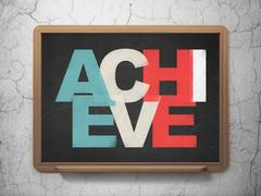 Business concept: Achieve on School board background Stock Illustration