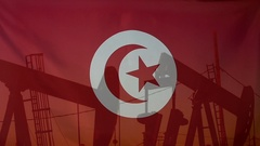 Tunisia flag slow motion oil production concept Stock Footage