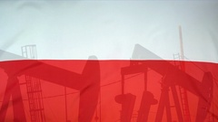 Poland flag slow motion oil production concept Stock Footage