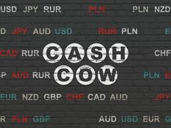 Finance concept: Cash Cow on wall background Stock Illustration