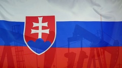 Slovakia flag slow motion oil production concept Stock Footage