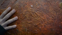 Human's hand rotating planet Mars Stock Footage