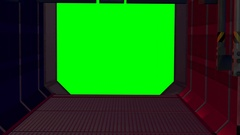 Passageway to a green screen Stock Footage