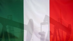 Italy flag slow motion oil production concept Stock Footage