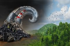 Pollution Wave Concept Stock Illustration
