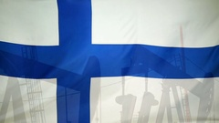 Finland flag slow motion oil production concept Stock Footage