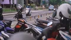 View of a small road, bounded by railing with one part of it, on which passing Stock Footage
