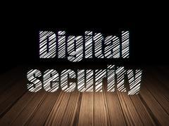 Safety concept: Digital Security in grunge dark room Piirros
