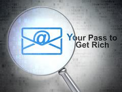 Business concept: Email and Your Pass to Get Rich with optical glass Stock Illustration