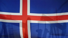 Iceland flag slow motion oil production concept Stock Footage