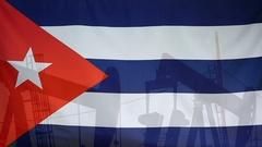 Cuba flag slow motion oil production concept Stock Footage