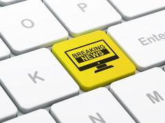 News concept: Breaking News On Screen on computer keyboard background Stock Illustration
