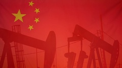 China flag slow motion oil production concept Stock Footage