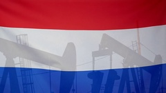 Netherlands flag slow motion oil production concept Stock Footage