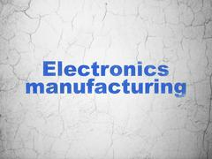 Industry concept: Electronics Manufacturing on wall background Stock Illustration