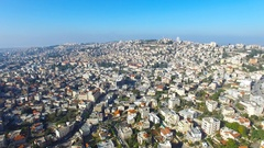 Aerial view of Nazareth, Israel Stock Footage
