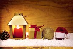 Christmas background with lantern and snow. Stock Photos