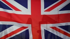 United Kingdom flag slow motion oil production concept Stock Footage