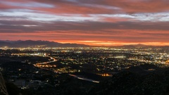 Los Angeles Mountain View Sunrise Time Lapse with Zoom Out Stock Footage