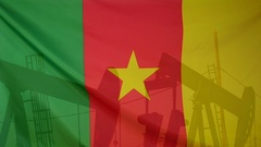Cameroon flag slow motion oil production concept Stock Footage