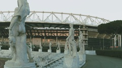 Statues of sports, Olympic village, Fascist architecture, aerial video Stock Footage