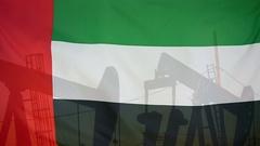 U.A.E flag slow motion oil production concept Stock Footage