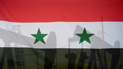 Syria flag slow motion oil production concept Stock Footage