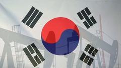 South Korea flag slow motion oil production concept Stock Footage
