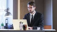 Young Businessman Having a Moment of Breakdown Stock Footage