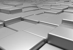 Surface of uneven tiles brick or cubes, 3d illustration Stock Illustration