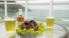 Enjoying seafood on the beach, Rio de Janeiro, Brazil Stock Footage